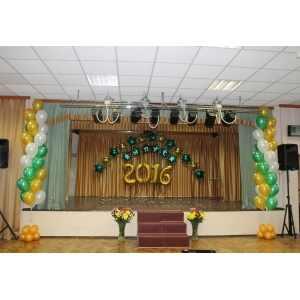 Оформление школьного зала шарами